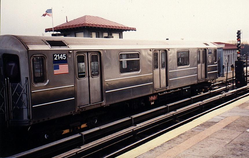 (82k, 860x546)<br><b>Country:</b> United States<br><b>City:</b> New York<br><b>System:</b> New York City Transit<br><b>Line:</b> IRT Flushing Line<br><b>Location:</b> Willets Point/Mets (fmr. Shea Stadium) <br><b>Route:</b> 7<br><b>Car:</b> R-62A (Bombardier, 1984-1987)  2145 <br><b>Photo by:</b> Gary Chatterton<br><b>Date:</b> 3/4/2002<br><b>Viewed (this week/total):</b> 1 / 2831