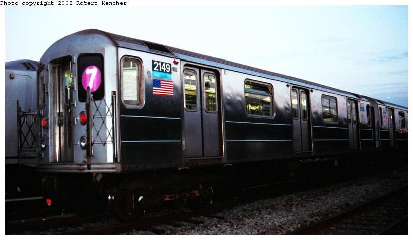 (49k, 820x476)<br><b>Country:</b> United States<br><b>City:</b> New York<br><b>System:</b> New York City Transit<br><b>Location:</b> Coney Island Yard<br><b>Car:</b> R-62A (Bombardier, 1984-1987)  2149 <br><b>Photo by:</b> Robert Mencher<br><b>Date:</b> 4/2002<br><b>Viewed (this week/total):</b> 0 / 3834