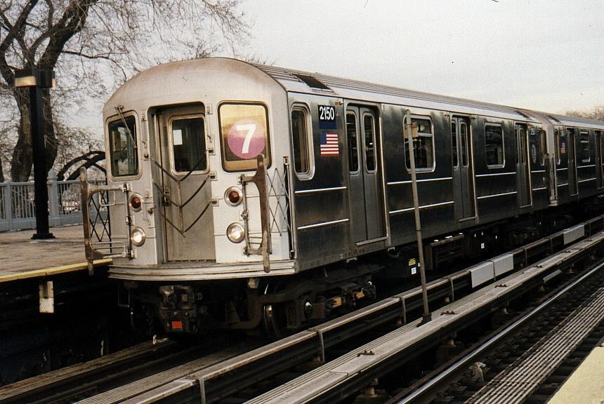 (97k, 860x576)<br><b>Country:</b> United States<br><b>City:</b> New York<br><b>System:</b> New York City Transit<br><b>Line:</b> IRT Flushing Line<br><b>Location:</b> Willets Point/Mets (fmr. Shea Stadium) <br><b>Route:</b> 7<br><b>Car:</b> R-62A (Bombardier, 1984-1987)  2150 <br><b>Photo by:</b> Gary Chatterton<br><b>Date:</b> 2/19/2002<br><b>Viewed (this week/total):</b> 0 / 3126