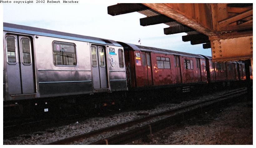 (60k, 820x476)<br><b>Country:</b> United States<br><b>City:</b> New York<br><b>System:</b> New York City Transit<br><b>Location:</b> Coney Island Yard<br><b>Car:</b> R-62A (Bombardier, 1984-1987)  2154 <br><b>Photo by:</b> Robert Mencher<br><b>Date:</b> 4/2002<br><b>Notes:</b> With R36 9633<br><b>Viewed (this week/total):</b> 0 / 4023