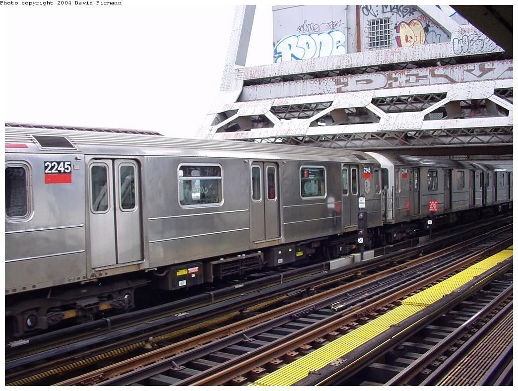 (155k, 1044x788)<br><b>Country:</b> United States<br><b>City:</b> New York<br><b>System:</b> New York City Transit<br><b>Line:</b> IRT West Side Line<br><b>Location:</b> Broadway Bridge <br><b>Route:</b> 1<br><b>Car:</b> R-62A (Bombardier, 1984-1987)  2245 <br><b>Photo by:</b> David Pirmann<br><b>Date:</b> 3/12/2000<br><b>Viewed (this week/total):</b> 0 / 5250