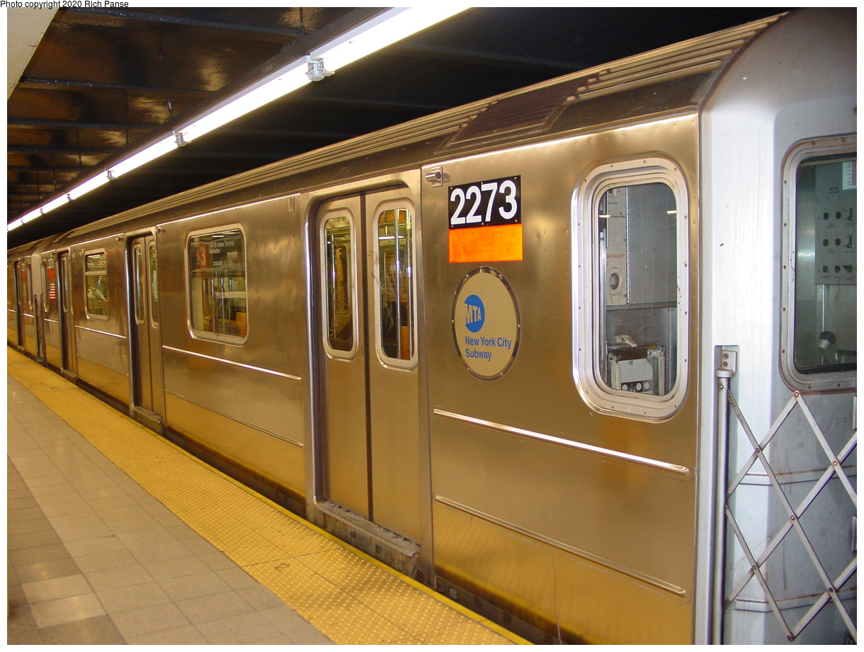 (78k, 820x620)<br><b>Country:</b> United States<br><b>City:</b> New York<br><b>System:</b> New York City Transit<br><b>Line:</b> IRT West Side Line<br><b>Location:</b> 34th Street/Penn Station <br><b>Route:</b> 1<br><b>Car:</b> R-62A (Bombardier, 1984-1987)  2273 <br><b>Photo by:</b> Richard Panse<br><b>Date:</b> 1/23/2002<br><b>Viewed (this week/total):</b> 3 / 5458