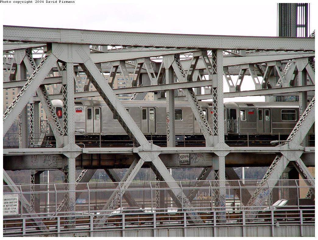 (180k, 1044x788)<br><b>Country:</b> United States<br><b>City:</b> New York<br><b>System:</b> New York City Transit<br><b>Line:</b> IRT West Side Line<br><b>Location:</b> Broadway Bridge <br><b>Route:</b> 1<br><b>Car:</b> R-62A (Bombardier, 1984-1987)  2325 <br><b>Photo by:</b> David Pirmann<br><b>Date:</b> 3/12/2000<br><b>Notes:</b> View from Marble Hill MNRR Station<br><b>Viewed (this week/total):</b> 1 / 6105