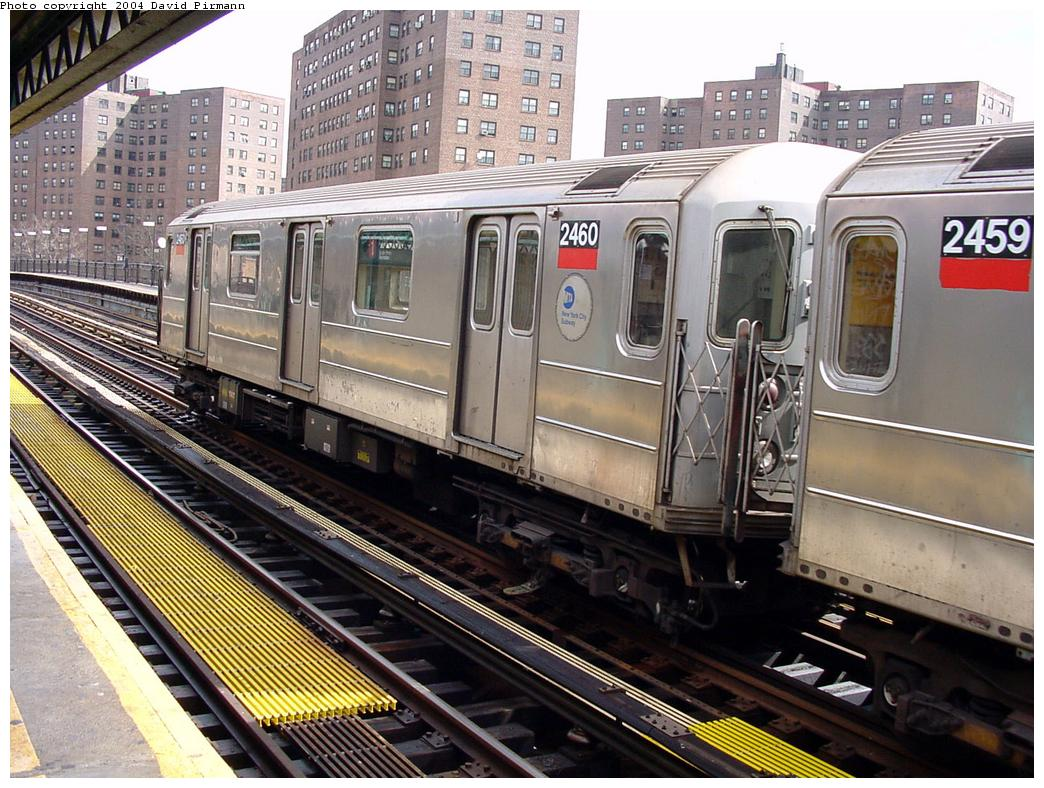 (169k, 1044x788)<br><b>Country:</b> United States<br><b>City:</b> New York<br><b>System:</b> New York City Transit<br><b>Line:</b> IRT West Side Line<br><b>Location:</b> 225th Street <br><b>Route:</b> 1<br><b>Car:</b> R-62A (Bombardier, 1984-1987)  2460 <br><b>Photo by:</b> David Pirmann<br><b>Date:</b> 3/12/2000<br><b>Viewed (this week/total):</b> 3 / 5069