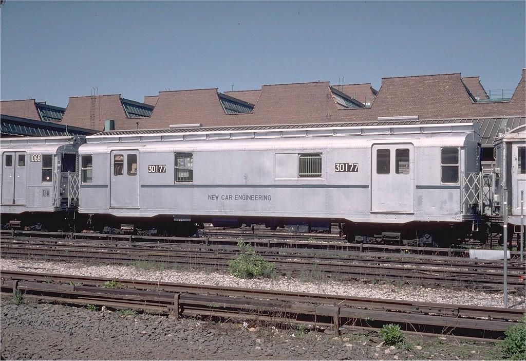 (257k, 1024x702)<br><b>Country:</b> United States<br><b>City:</b> New York<br><b>System:</b> New York City Transit<br><b>Location:</b> 207th Street Yard<br><b>Car:</b> R-8A Revenue Car (St. Louis, 1939) 30177 (ex-67)<br><b>Photo by:</b> Steve Zabel<br><b>Collection of:</b> Joe Testagrose<br><b>Date:</b> 4/1976<br><b>Viewed (this week/total):</b> 12 / 14576