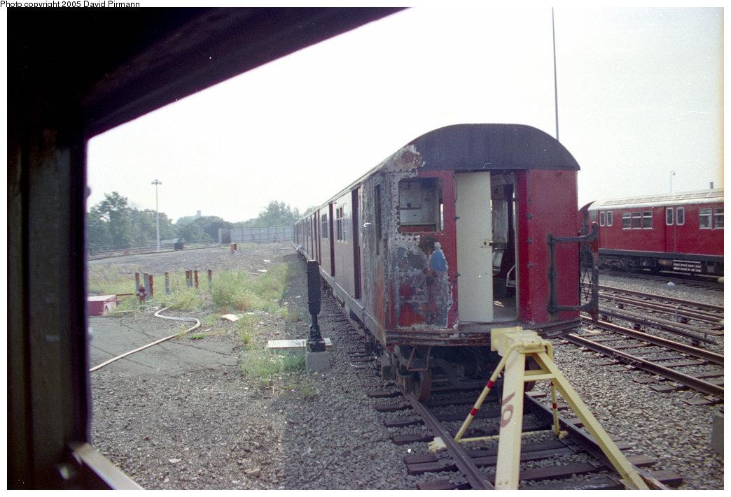 (185k, 1044x711)<br><b>Country:</b> United States<br><b>City:</b> New York<br><b>System:</b> New York City Transit<br><b>Location:</b> 239th Street Yard<br><b>Car:</b> R-33 Main Line (St. Louis, 1962-63) 9153 <br><b>Photo by:</b> David Pirmann<br><b>Date:</b> 9/13/1998<br><b>Notes:</b> R33 9153-fire damage from 2/3/1998 accident<br><b>Viewed (this week/total):</b> 12 / 9269