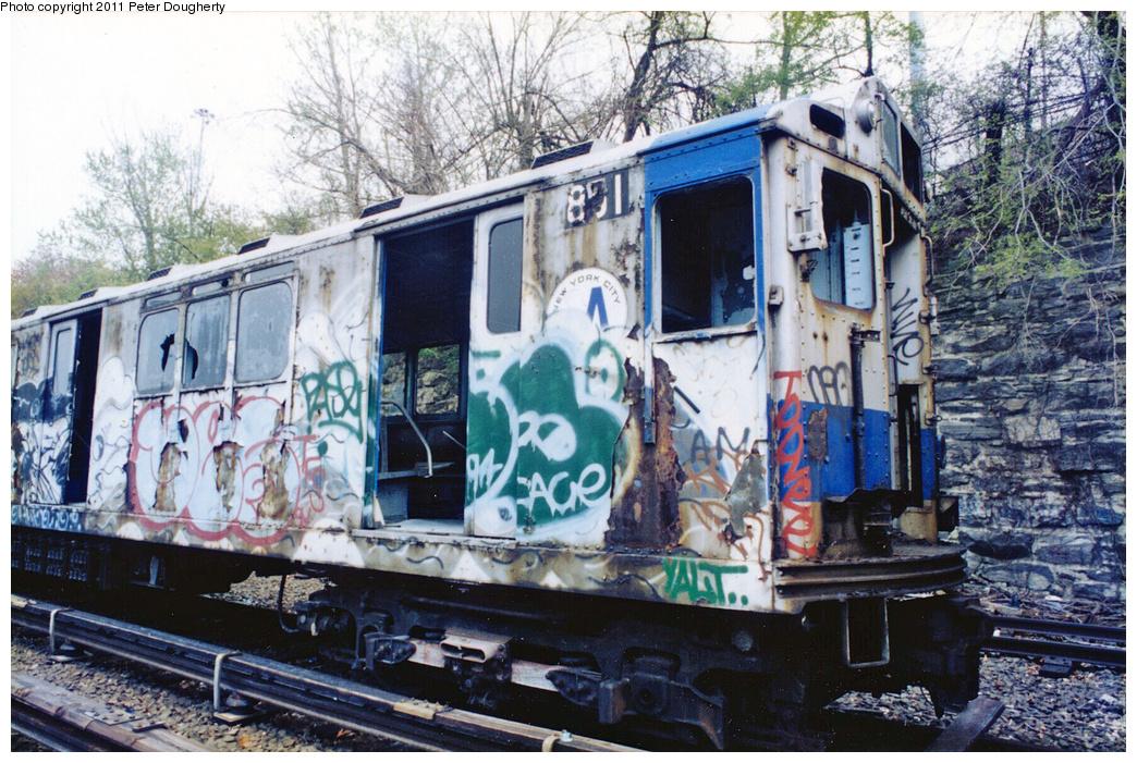 (466k, 1044x701)<br><b>Country:</b> United States<br><b>City:</b> New York<br><b>System:</b> New York City Transit<br><b>Location:</b> Concourse Yard<br><b>Car:</b> R-14 (American Car & Foundry, 1949) 5851 <br><b>Photo by:</b> Peter Dougherty<br><b>Date:</b> 1998<br><b>Viewed (this week/total):</b> 0 / 5086