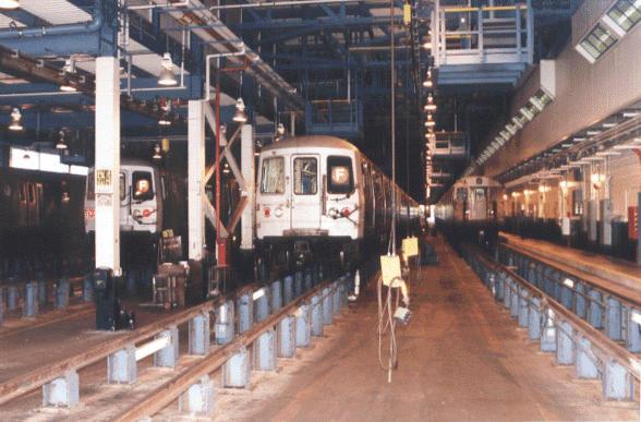 (56k, 588x387)<br><b>Country:</b> United States<br><b>City:</b> New York<br><b>System:</b> New York City Transit<br><b>Location:</b> Jamaica Yard/Shops<br><b>Car:</b> R-46 (Pullman-Standard, 1974-75)  <br><b>Photo by:</b> Peter Dougherty<br><b>Date:</b> 1998<br><b>Viewed (this week/total):</b> 4 / 4779