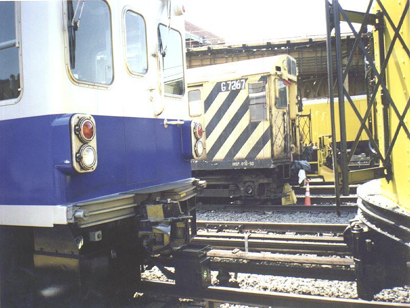 (94k, 800x600)<br><b>Country:</b> United States<br><b>City:</b> New York<br><b>System:</b> New York City Transit<br><b>Location:</b> Westchester Yard<br><b>Photo by:</b> Constantine Steffan<br><b>Date:</b> 9/12/1998<br><b>Notes:</b> R21 7267 & TGC2-Track Geometry Car<br><b>Viewed (this week/total):</b> 0 / 1690