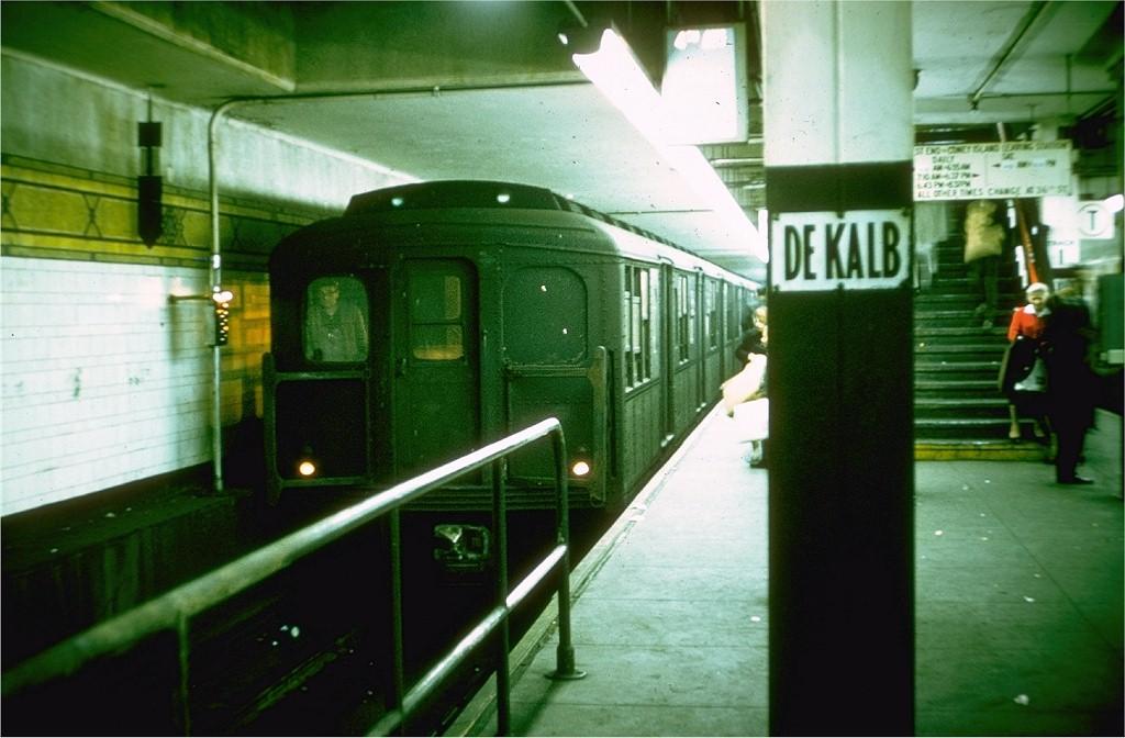 (166k, 1024x672)<br><b>Country:</b> United States<br><b>City:</b> New York<br><b>System:</b> New York City Transit<br><b>Location:</b> DeKalb Avenue<br><b>Route:</b> M<br><b>Car:</b> BMT A/B-Type Standard 2345 <br><b>Photo by:</b> Doug Grotjahn<br><b>Collection of:</b> Joe Testagrose<br><b>Date:</b> 10/12/1964<br><b>Viewed (this week/total):</b> 0 / 3790