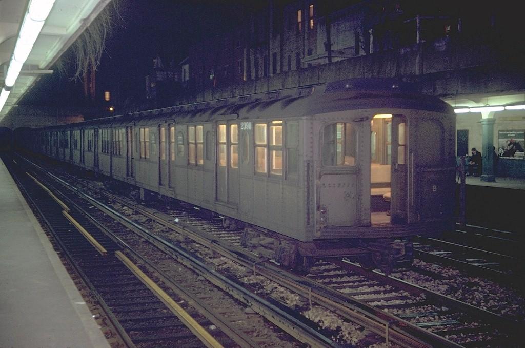 (206k, 1024x678)<br><b>Country:</b> United States<br><b>City:</b> New York<br><b>System:</b> New York City Transit<br><b>Line:</b> BMT Sea Beach Line<br><b>Location:</b> Bay Parkway (22nd Avenue) <br><b>Car:</b> BMT A/B-Type Standard 2390 <br><b>Photo by:</b> Doug Grotjahn<br><b>Collection of:</b> Joe Testagrose<br><b>Date:</b> 4/15/1969<br><b>Notes:</b> On scrap line. Now part of Transit Museum Collection<br><b>Viewed (this week/total):</b> 2 / 5253