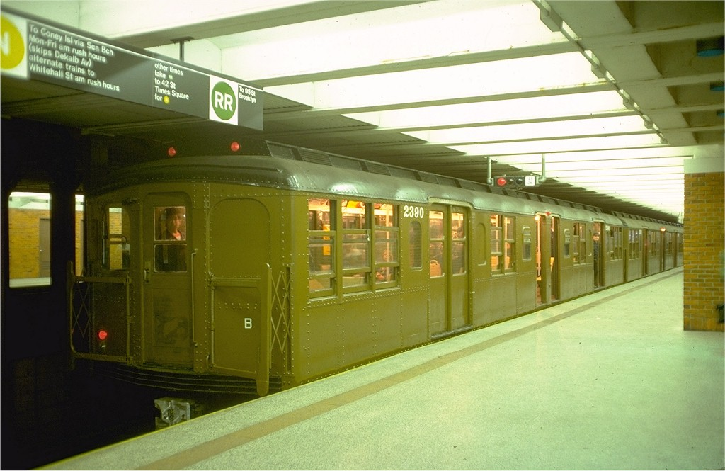 (164k, 1024x665)<br><b>Country:</b> United States<br><b>City:</b> New York<br><b>System:</b> New York City Transit<br><b>Line:</b> BMT Broadway Line<br><b>Location:</b> 49th Street <br><b>Route:</b> Fan Trip<br><b>Car:</b> BMT A/B-Type Standard 2390 <br><b>Photo by:</b> Doug Grotjahn<br><b>Collection of:</b> Joe Testagrose<br><b>Date:</b> 4/16/1977<br><b>Viewed (this week/total):</b> 0 / 5950