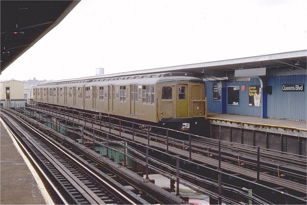 (202k, 1024x682)<br><b>Country:</b> United States<br><b>City:</b> New York<br><b>System:</b> New York City Transit<br><b>Line:</b> BMT Nassau Street/Jamaica Line<br><b>Location:</b> Queens Boulevard (Demolished) <br><b>Route:</b> Fan Trip<br><b>Car:</b> BMT A/B-Type Standard 2390 <br><b>Photo by:</b> Doug Grotjahn<br><b>Collection of:</b> Joe Testagrose<br><b>Date:</b> 9/10/1977<br><b>Viewed (this week/total):</b> 2 / 4524