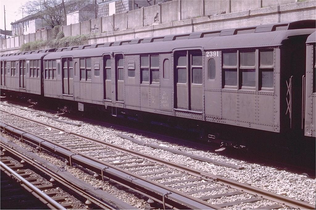 (269k, 1024x682)<br><b>Country:</b> United States<br><b>City:</b> New York<br><b>System:</b> New York City Transit<br><b>Line:</b> BMT Sea Beach Line<br><b>Location:</b> Bay Parkway (22nd Avenue) <br><b>Car:</b> BMT A/B-Type Standard 2391 <br><b>Photo by:</b> Joe Testagrose<br><b>Date:</b> 4/13/1969<br><b>Viewed (this week/total):</b> 1 / 5184