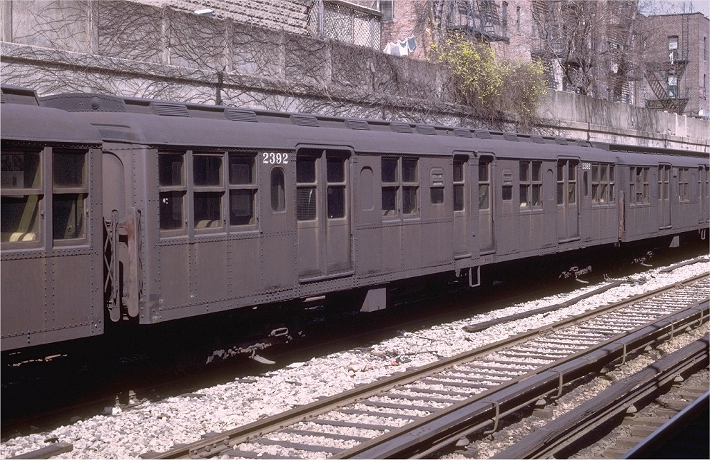 (259k, 1024x664)<br><b>Country:</b> United States<br><b>City:</b> New York<br><b>System:</b> New York City Transit<br><b>Line:</b> BMT Sea Beach Line<br><b>Location:</b> Bay Parkway (22nd Avenue) <br><b>Car:</b> BMT A/B-Type Standard 2392 <br><b>Photo by:</b> Joe Testagrose<br><b>Date:</b> 4/13/1969<br><b>Viewed (this week/total):</b> 0 / 3038