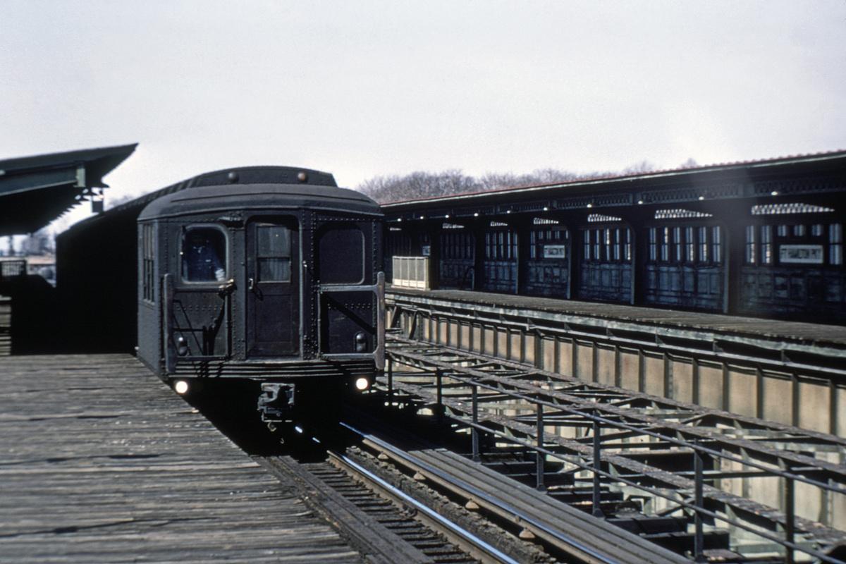 (214k, 1024x667)<br><b>Country:</b> United States<br><b>City:</b> New York<br><b>System:</b> New York City Transit<br><b>Line:</b> BMT Culver Line<br><b>Location:</b> Fort Hamilton Parkway <br><b>Route:</b> Culver Shuttle<br><b>Car:</b> BMT A/B-Type Standard 2407 <br><b>Photo by:</b> Doug Grotjahn<br><b>Collection of:</b> Joe Testagrose<br><b>Date:</b> 3/16/1969<br><b>Viewed (this week/total):</b> 0 / 4753