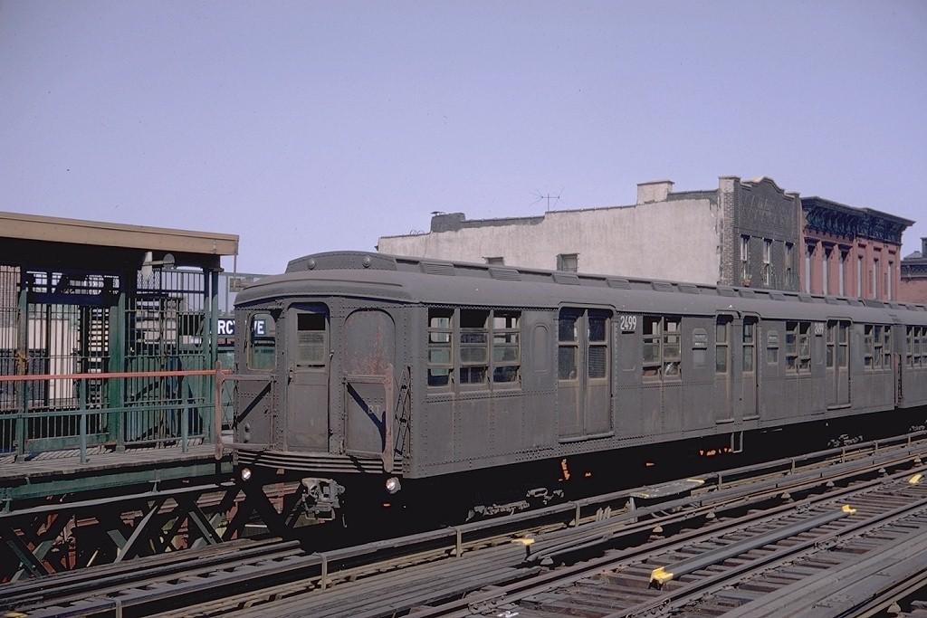(187k, 1024x683)<br><b>Country:</b> United States<br><b>City:</b> New York<br><b>System:</b> New York City Transit<br><b>Line:</b> BMT Nassau Street/Jamaica Line<br><b>Location:</b> Marcy Avenue <br><b>Route:</b> M<br><b>Car:</b> BMT A/B-Type Standard 2499 <br><b>Photo by:</b> Doug Grotjahn<br><b>Collection of:</b> Joe Testagrose<br><b>Date:</b> 7/1/1968<br><b>Viewed (this week/total):</b> 1 / 3339