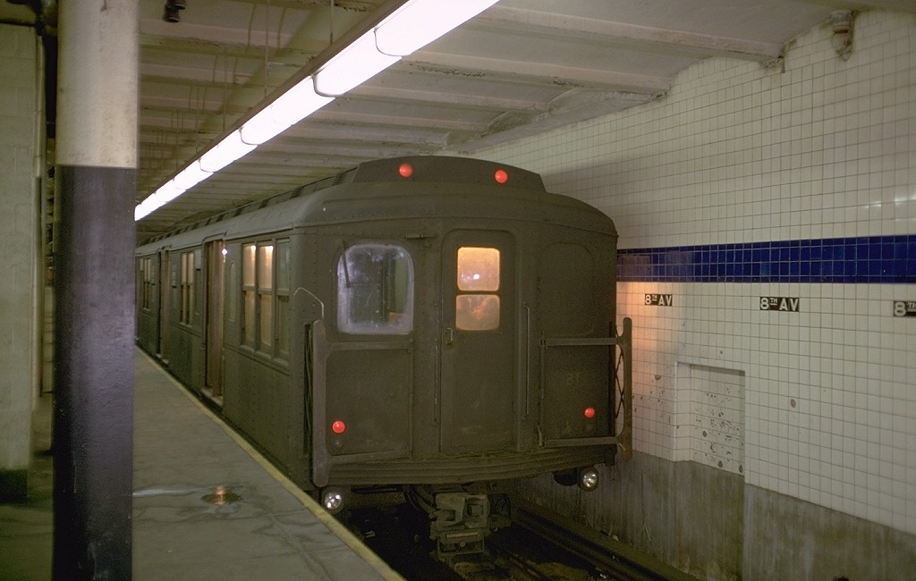 (140k, 1024x650)<br><b>Country:</b> United States<br><b>City:</b> New York<br><b>System:</b> New York City Transit<br><b>Line:</b> BMT Canarsie Line<br><b>Location:</b> 8th Avenue <br><b>Route:</b> L<br><b>Car:</b> BMT A/B-Type Standard 2499 <br><b>Photo by:</b> Doug Grotjahn<br><b>Collection of:</b> Joe Testagrose<br><b>Date:</b> 3/2/1969<br><b>Viewed (this week/total):</b> 11 / 3778