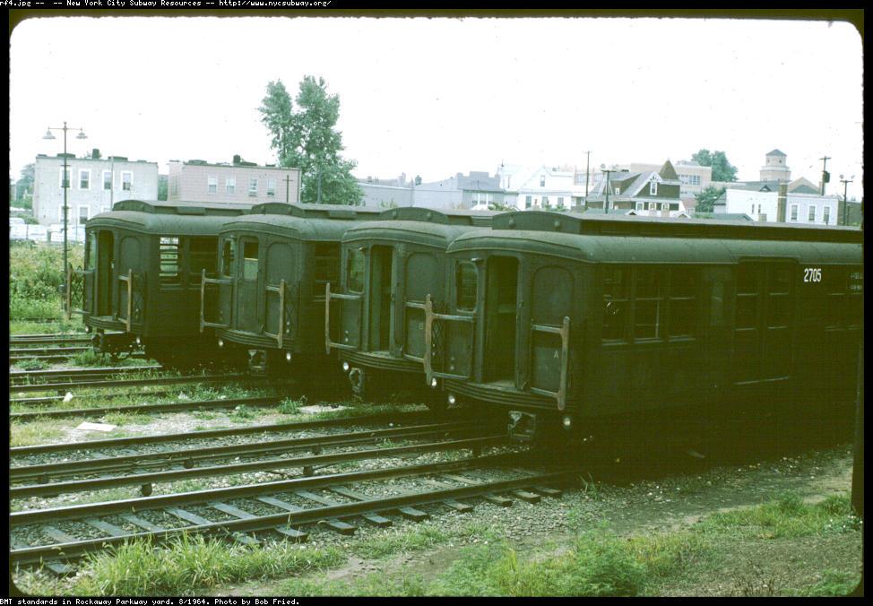 (131k, 974x676)<br><b>Country:</b> United States<br><b>City:</b> New York<br><b>System:</b> New York City Transit<br><b>Location:</b> Rockaway Parkway (Canarsie) Yard<br><b>Car:</b> BMT A/B-Type Standard 2705 <br><b>Photo by:</b> Bob Fried<br><b>Date:</b> 8/1964<br><b>Viewed (this week/total):</b> 1 / 3137