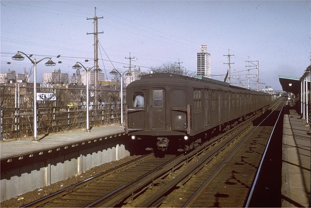 (244k, 1024x686)<br><b>Country:</b> United States<br><b>City:</b> New York<br><b>System:</b> New York City Transit<br><b>Line:</b> BMT Canarsie Line<br><b>Location:</b> New Lots Avenue <br><b>Route:</b> LL<br><b>Car:</b> BMT A/B-Type Standard  <br><b>Photo by:</b> Ed Bacher<br><b>Collection of:</b> Joe Testagrose<br><b>Date:</b> 5/1969<br><b>Viewed (this week/total):</b> 0 / 8529