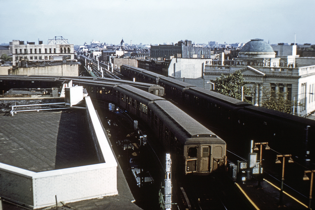 (321k, 1024x683)<br><b>Country:</b> United States<br><b>City:</b> New York<br><b>System:</b> New York City Transit<br><b>Line:</b> BMT Nassau Street/Jamaica Line<br><b>Location:</b> Myrtle Avenue <br><b>Car:</b> BMT A/B-Type Standard  <br><b>Collection of:</b> David Pirmann<br><b>Notes:</b> Four trains!<br><b>Viewed (this week/total):</b> 5 / 4648