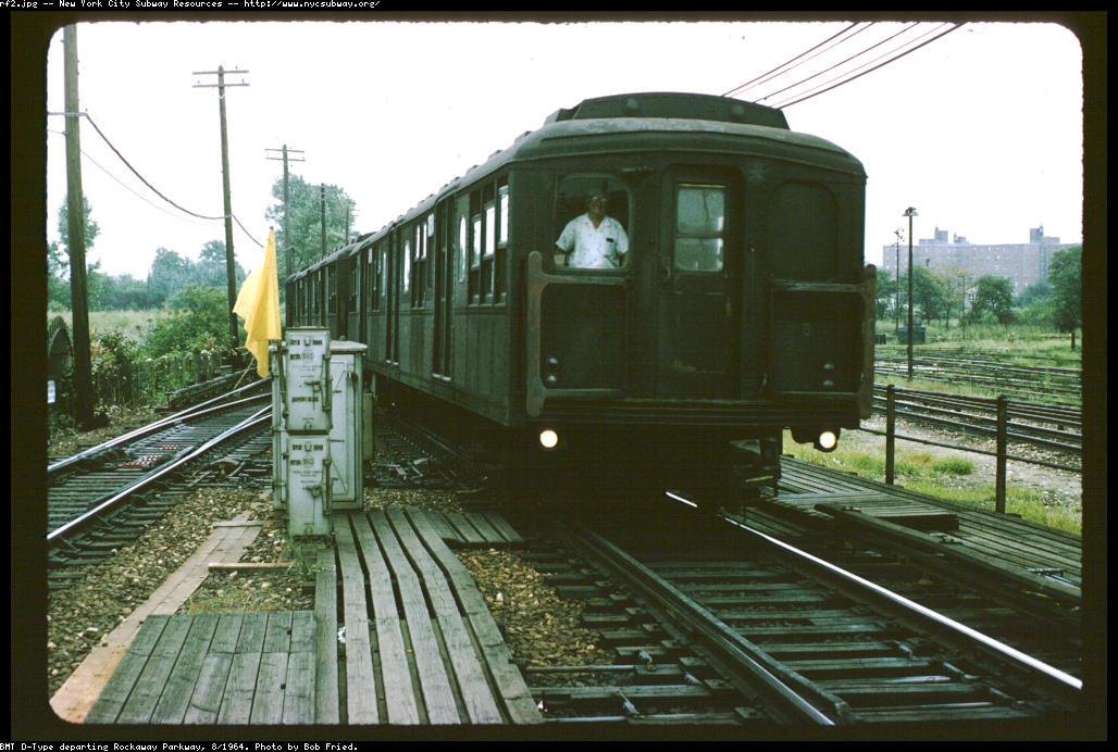 (141k, 1028x692)<br><b>Country:</b> United States<br><b>City:</b> New York<br><b>System:</b> New York City Transit<br><b>Line:</b> BMT Canarsie Line<br><b>Location:</b> Rockaway Parkway <br><b>Car:</b> BMT A/B-Type Standard  <br><b>Photo by:</b> Bob Fried<br><b>Date:</b> 8/1964<br><b>Viewed (this week/total):</b> 0 / 4076