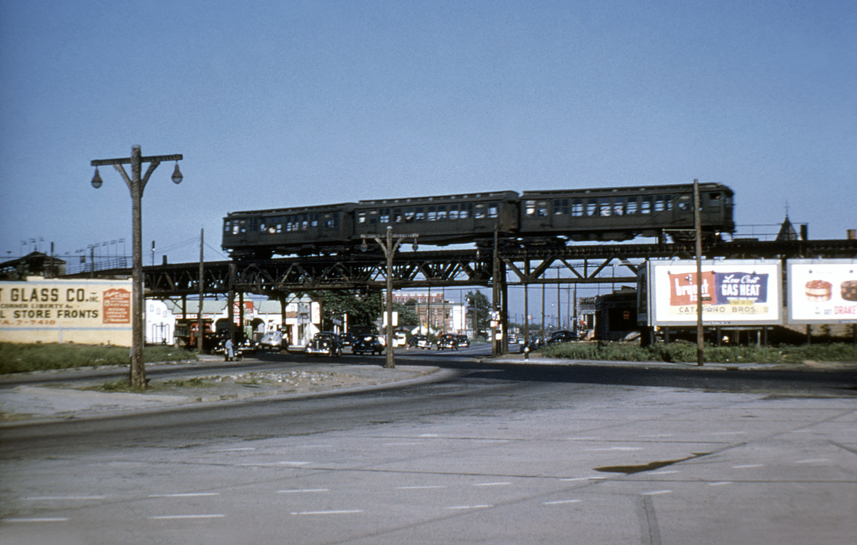 (176k, 1024x683)<br><b>Country:</b> United States<br><b>City:</b> New York<br><b>System:</b> New York City Transit<br><b>Line:</b> BMT Fulton<br><b>Location:</b> Liberty & Euclid <br><b>Car:</b> BMT C  <br><b>Collection of:</b> Joe Testagrose<br><b>Notes:</b> Probably Fulton El at intersection of Conduit, Euclid, and Liberty. Station on left would be Crescent St.<br><b>Viewed (this week/total):</b> 0 / 8501