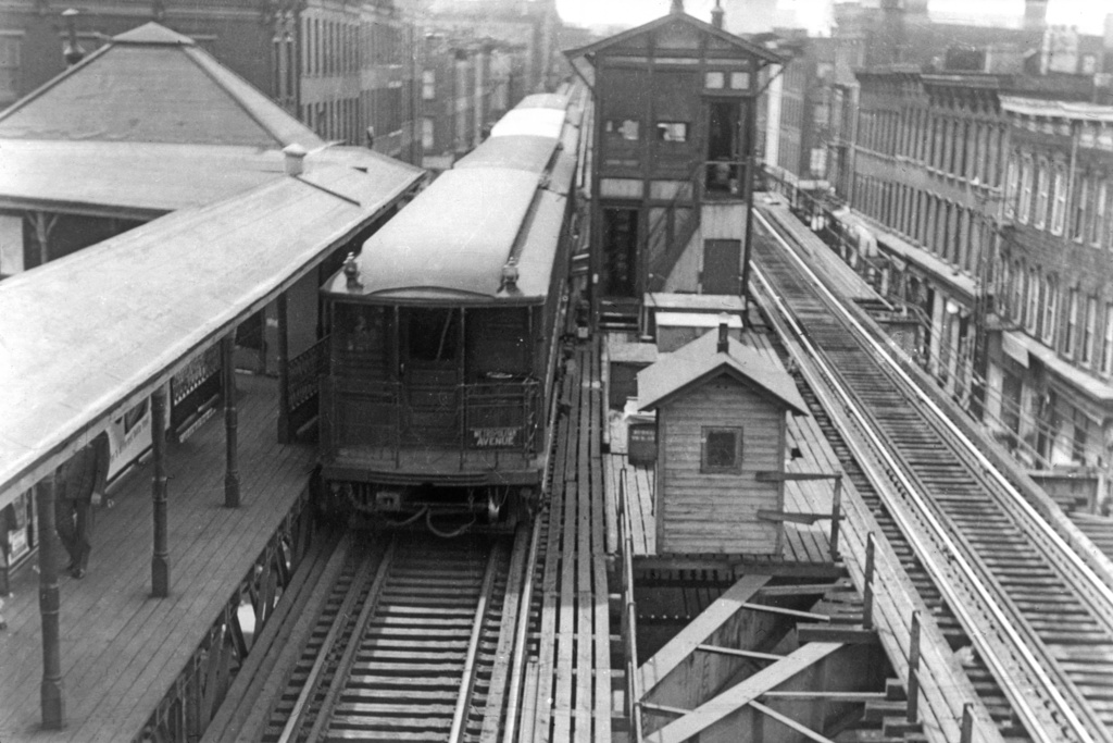 (254k, 1024x683)<br><b>Country:</b> United States<br><b>City:</b> New York<br><b>System:</b> New York City Transit<br><b>Line:</b> BMT Myrtle Avenue Line<br><b>Location:</b> Grand Avenue <br><b>Route:</b> MJ<br><b>Car:</b> BMT Elevated Gate Car  <br><b>Collection of:</b> David Pirmann<br><b>Viewed (this week/total):</b> 0 / 6726