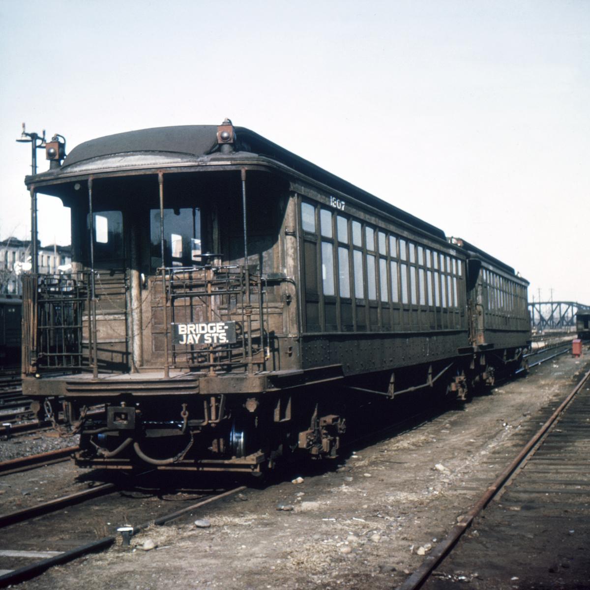 (362k, 1024x683)<br><b>Country:</b> United States<br><b>City:</b> New York<br><b>System:</b> New York City Transit<br><b>Location:</b> Fresh Pond Yard<br><b>Car:</b> BMT Elevated Gate Car 1207 <br><b>Collection of:</b> David Pirmann<br><b>Notes:</b> probably between 1944 and 1958<br><b>Viewed (this week/total):</b> 0 / 5272