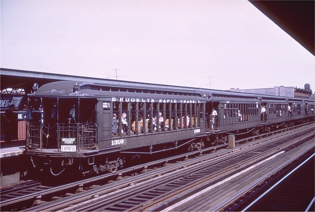 (185k, 1024x689)<br><b>Country:</b> United States<br><b>City:</b> New York<br><b>System:</b> New York City Transit<br><b>Line:</b> BMT Nassau Street/Jamaica Line<br><b>Location:</b> Gates Avenue <br><b>Route:</b> Fan Trip<br><b>Car:</b> BMT Elevated Gate Car 1316 <br><b>Collection of:</b> Joe Testagrose<br><b>Date:</b> 6/29/1958<br><b>Notes:</b> Farewell to the Gate Cars fantrip<br><b>Viewed (this week/total):</b> 2 / 3958