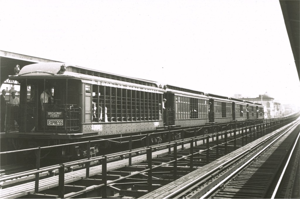 (148k, 1024x682)<br><b>Country:</b> United States<br><b>City:</b> New York<br><b>System:</b> New York City Transit<br><b>Line:</b> BMT Myrtle Avenue Line<br><b>Location:</b> Knickerbocker Avenue <br><b>Route:</b> Fan Trip<br><b>Car:</b> BMT Elevated Gate Car 1316 <br><b>Collection of:</b> Joe Testagrose<br><b>Date:</b> 6/29/1958<br><b>Notes:</b> Farewell to the Gate Cars fantrip<br><b>Viewed (this week/total):</b> 0 / 3461