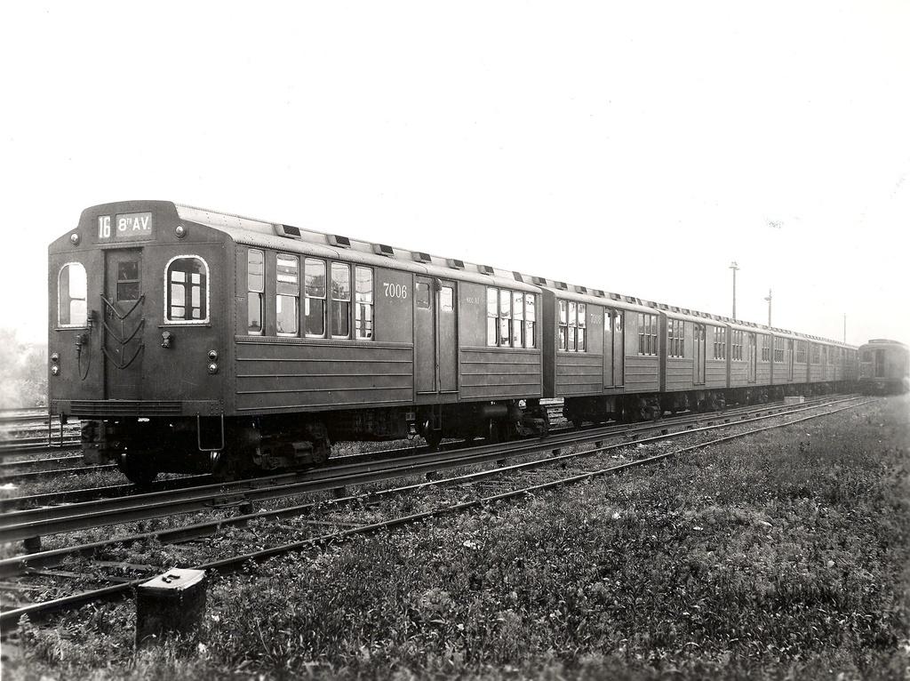 (289k, 1024x766)<br><b>Country:</b> United States<br><b>City:</b> New York<br><b>System:</b> New York City Transit<br><b>Car:</b> BMT Multi 7006 <br><b>Collection of:</b> Ed Watson/Arthur Lonto Collection<br><b>Notes:</b> Maybe Canarsie Yard<br><b>Viewed (this week/total):</b> 1 / 3879