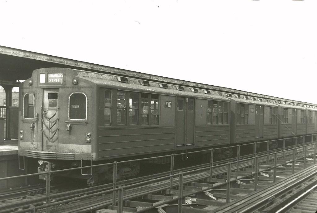 (150k, 1024x689)<br><b>Country:</b> United States<br><b>City:</b> New York<br><b>System:</b> New York City Transit<br><b>Line:</b> BMT Myrtle Avenue Line<br><b>Location:</b> Central Avenue <br><b>Car:</b> BMT Multi 7007 <br><b>Photo by:</b> Harry Pinsker<br><b>Date:</b> 6/2/1960<br><b>Viewed (this week/total):</b> 3 / 3677