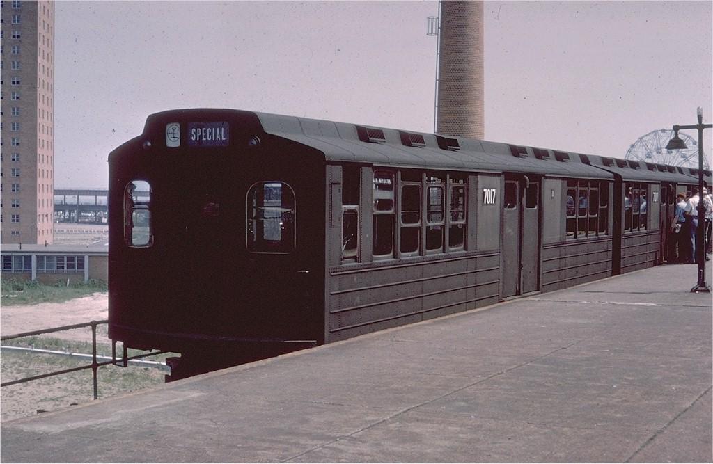 (177k, 1024x667)<br><b>Country:</b> United States<br><b>City:</b> New York<br><b>System:</b> New York City Transit<br><b>Location:</b> Coney Island/Stillwell Avenue<br><b>Route:</b> Fan Trip<br><b>Car:</b> BMT Multisection 7017 <br><b>Collection of:</b> Joe Testagrose<br><b>Date:</b> 7/22/1961<br><b>Viewed (this week/total):</b> 6 / 3920