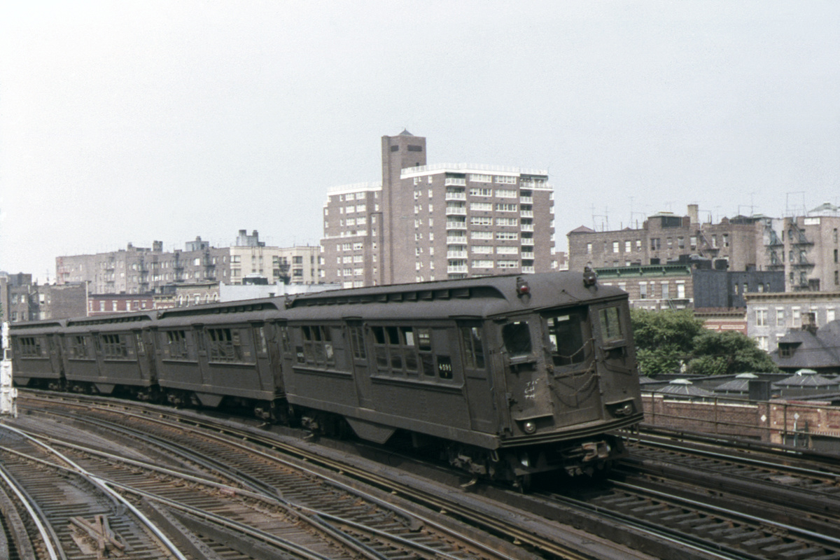 (375k, 1024x683)<br><b>Country:</b> United States<br><b>City:</b> New York<br><b>System:</b> New York City Transit<br><b>Line:</b> IRT Woodlawn Line<br><b>Location:</b> Bedford Park Boulevard <br><b>Route:</b> 4<br><b>Car:</b> Low-V 4591 <br><b>Photo by:</b> Peter Strauss<br><b>Collection of:</b> David Pirmann<br><b>Date:</b> 7/1963<br><b>Viewed (this week/total):</b> 2 / 3185