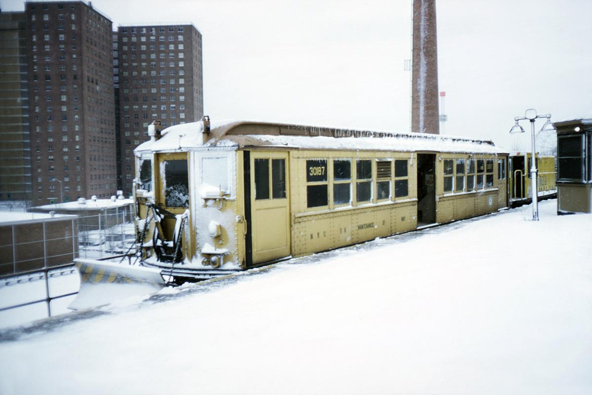 (388k, 1044x707)<br><b>Country:</b> United States<br><b>City:</b> New York<br><b>System:</b> New York City Transit<br><b>Location:</b> Coney Island/Stillwell Avenue<br><b>Car:</b> Snow Plow (Low-V Converted) 30187 (ex-4642)<br><b>Photo by:</b> Doug Grotjahn<br><b>Collection of:</b> David Pirmann<br><b>Date:</b> 12/15/1968<br><b>Notes:</b> Snowplow<br><b>Viewed (this week/total):</b> 5 / 8684