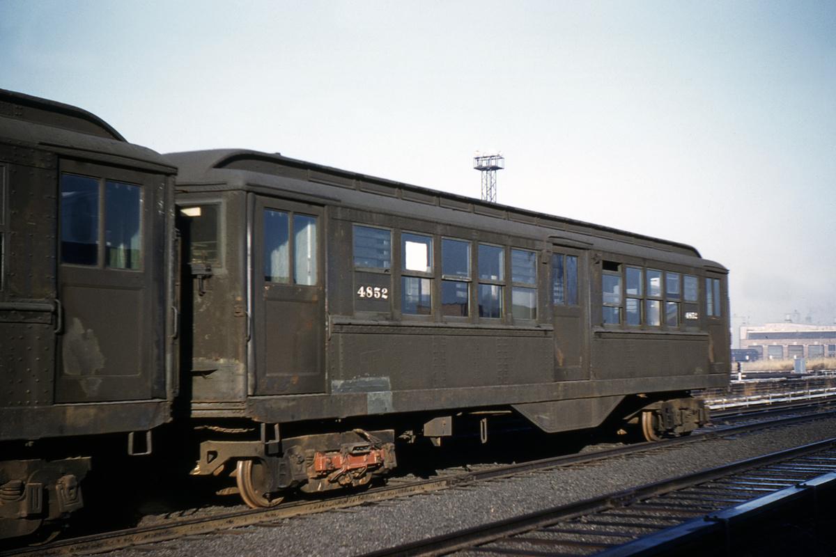 (329k, 1044x707)<br><b>Country:</b> United States<br><b>City:</b> New York<br><b>System:</b> New York City Transit<br><b>Location:</b> Coney Island Yard<br><b>Car:</b> Low-V 4852 <br><b>Collection of:</b> David Pirmann<br><b>Date:</b> 11/26/1960<br><b>Viewed (this week/total):</b> 0 / 4890