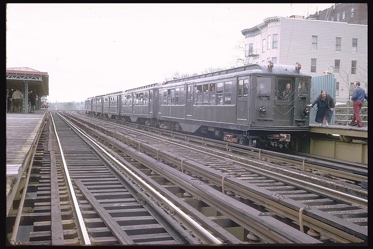 (130k, 768x512)<br><b>Country:</b> United States<br><b>City:</b> New York<br><b>System:</b> New York City Transit<br><b>Line:</b> 3rd Avenue El<br><b>Location:</b> 210th Street <br><b>Route:</b> Fan Trip<br><b>Car:</b> Low-V (Museum Train) 5290 <br><b>Photo by:</b> Steve Zabel<br><b>Collection of:</b> Joe Testagrose<br><b>Date:</b> 4/29/1973<br><b>Viewed (this week/total):</b> 1 / 4087