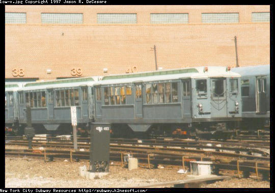 (45k, 540x379)<br><b>Country:</b> United States<br><b>City:</b> New York<br><b>System:</b> New York City Transit<br><b>Location:</b> Coney Island Yard-Museum Yard<br><b>Car:</b> Low-V (Museum Train) 5292 <br><b>Photo by:</b> Jason R. DeCesare<br><b>Date:</b> 1995<br><b>Notes:</b> Another view of the restored Low-V cars<br><b>Viewed (this week/total):</b> 1 / 2587
