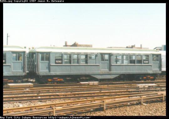 (41k, 540x379)<br><b>Country:</b> United States<br><b>City:</b> New York<br><b>System:</b> New York City Transit<br><b>Location:</b> Coney Island Yard-Museum Yard<br><b>Car:</b> Low-V (Museum Train) 5292 <br><b>Photo by:</b> Jason R. DeCesare<br><b>Date:</b> 1995<br><b>Notes:</b> Side View IRT Low-V #5292<br><b>Viewed (this week/total):</b> 0 / 2609