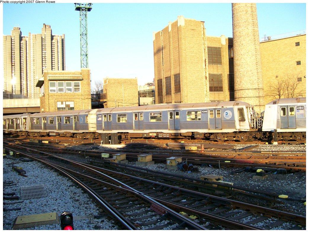 (237k, 1044x788)<br><b>Country:</b> United States<br><b>City:</b> New York<br><b>System:</b> New York City Transit<br><b>Location:</b> Concourse Yard<br><b>Car:</b> R-40 (St. Louis, 1968)  4248 <br><b>Photo by:</b> Glenn L. Rowe<br><b>Date:</b> 12/5/2006<br><b>Viewed (this week/total):</b> 0 / 2004