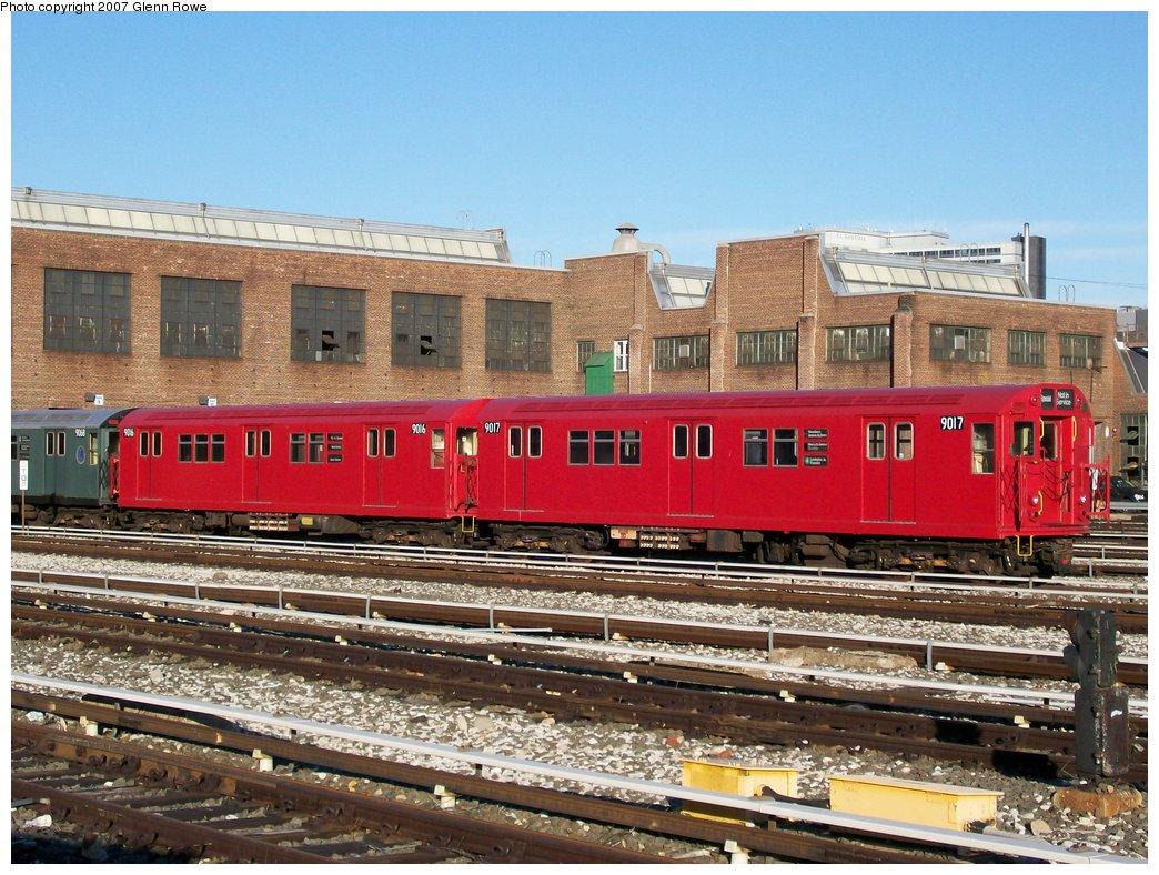 (216k, 1044x788)<br><b>Country:</b> United States<br><b>City:</b> New York<br><b>System:</b> New York City Transit<br><b>Location:</b> 207th Street Yard<br><b>Car:</b> R-33 Main Line (St. Louis, 1962-63) 9017/9016 <br><b>Photo by:</b> Glenn L. Rowe<br><b>Date:</b> 3/2/2007<br><b>Viewed (this week/total):</b> 0 / 2477