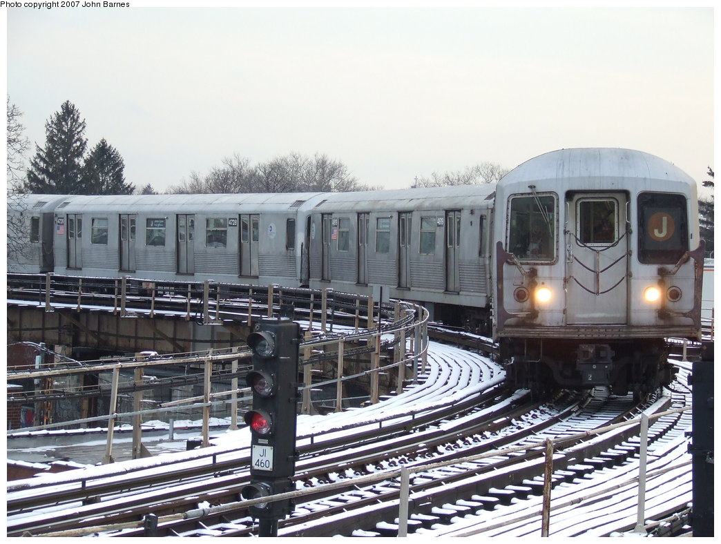 (208k, 1044x788)<br><b>Country:</b> United States<br><b>City:</b> New York<br><b>System:</b> New York City Transit<br><b>Line:</b> BMT Nassau Street/Jamaica Line<br><b>Location:</b> Cypress Hills <br><b>Route:</b> J<br><b>Car:</b> R-42 (St. Louis, 1969-1970)  4618 <br><b>Photo by:</b> John Barnes<br><b>Date:</b> 3/7/2007<br><b>Viewed (this week/total):</b> 0 / 2443