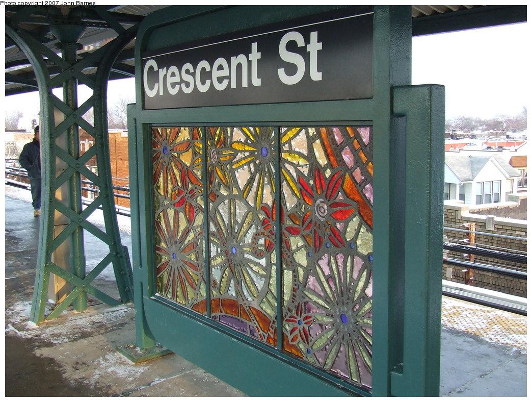 (232k, 1044x788)<br><b>Country:</b> United States<br><b>City:</b> New York<br><b>System:</b> New York City Transit<br><b>Line:</b> BMT Nassau Street/Jamaica Line<br><b>Location:</b> Crescent Street <br><b>Photo by:</b> John Barnes<br><b>Date:</b> 3/7/2007<br><b>Artwork:</b> <i>Wheel of Bloom; Soak up the Sun</i>, Jung Hyang Kim (2007).<br><b>Viewed (this week/total):</b> 0 / 1789
