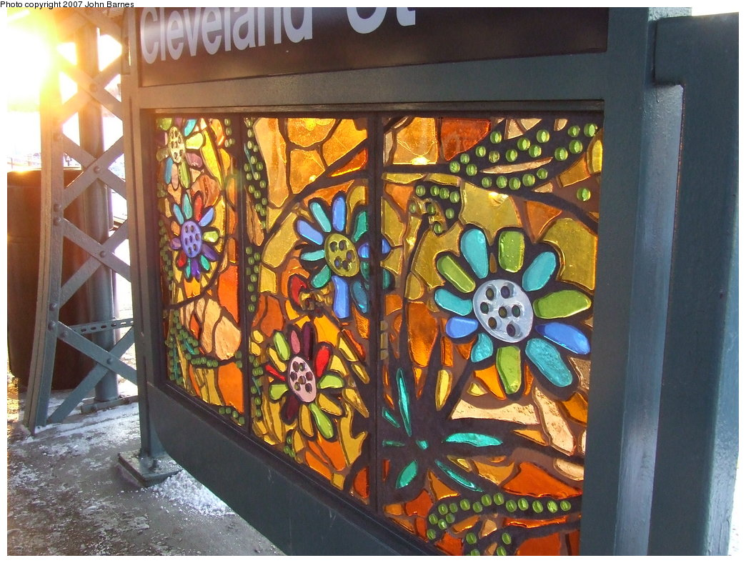 (220k, 1044x788)<br><b>Country:</b> United States<br><b>City:</b> New York<br><b>System:</b> New York City Transit<br><b>Line:</b> BMT Nassau Street/Jamaica Line<br><b>Location:</b> Cleveland Street <br><b>Photo by:</b> John Barnes<br><b>Date:</b> 3/7/2007<br><b>Artwork:</b> <i>Las Flores</i>, Amy Cheng (2007).<br><b>Viewed (this week/total):</b> 2 / 1940