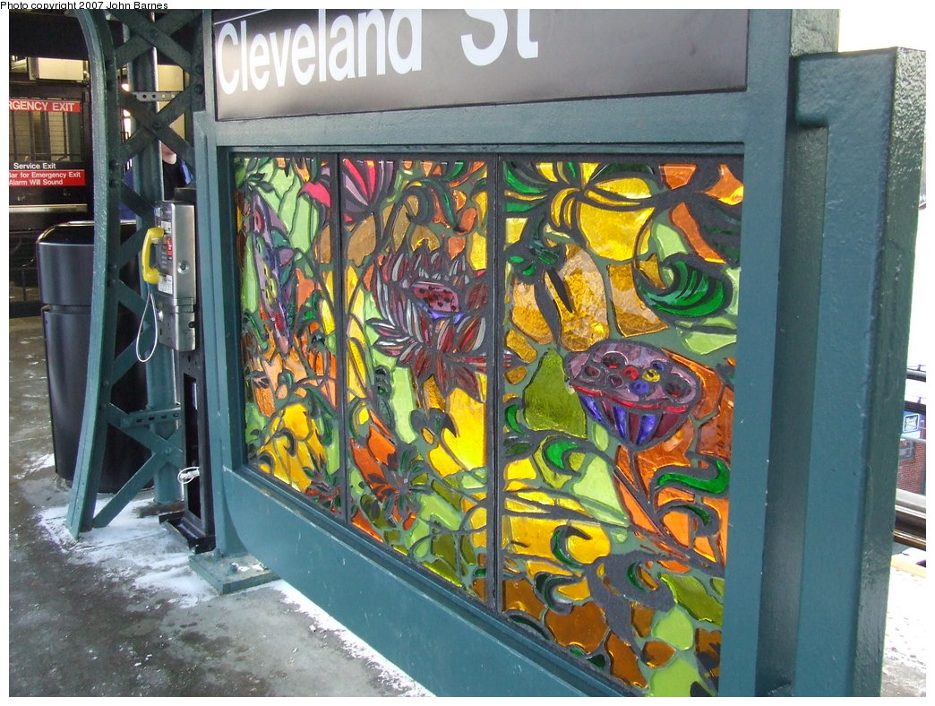 (227k, 1044x788)<br><b>Country:</b> United States<br><b>City:</b> New York<br><b>System:</b> New York City Transit<br><b>Line:</b> BMT Nassau Street/Jamaica Line<br><b>Location:</b> Cleveland Street <br><b>Photo by:</b> John Barnes<br><b>Date:</b> 3/7/2007<br><b>Artwork:</b> <i>Las Flores</i>, Amy Cheng (2007).<br><b>Viewed (this week/total):</b> 0 / 1838