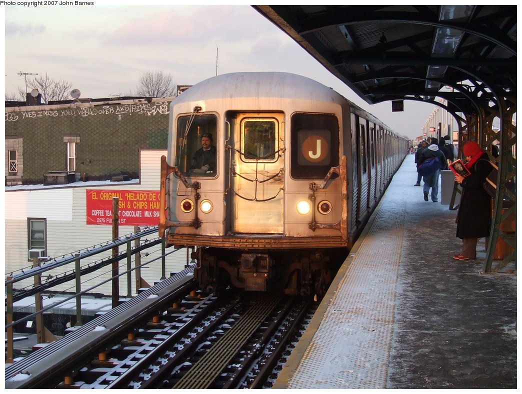 (217k, 1044x788)<br><b>Country:</b> United States<br><b>City:</b> New York<br><b>System:</b> New York City Transit<br><b>Line:</b> BMT Nassau Street/Jamaica Line<br><b>Location:</b> Cleveland Street <br><b>Route:</b> J<br><b>Car:</b> R-42 (St. Louis, 1969-1970)  4904 <br><b>Photo by:</b> John Barnes<br><b>Date:</b> 3/7/2007<br><b>Viewed (this week/total):</b> 2 / 2609