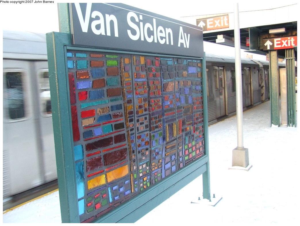 (174k, 1044x788)<br><b>Country:</b> United States<br><b>City:</b> New York<br><b>System:</b> New York City Transit<br><b>Line:</b> BMT Nassau Street/Jamaica Line<br><b>Location:</b> Van Siclen Avenue <br><b>Photo by:</b> John Barnes<br><b>Date:</b> 3/7/2007<br><b>Artwork:</b> <i>The View From Here</i>, Barbara Ellmann (2007).<br><b>Viewed (this week/total):</b> 1 / 1783