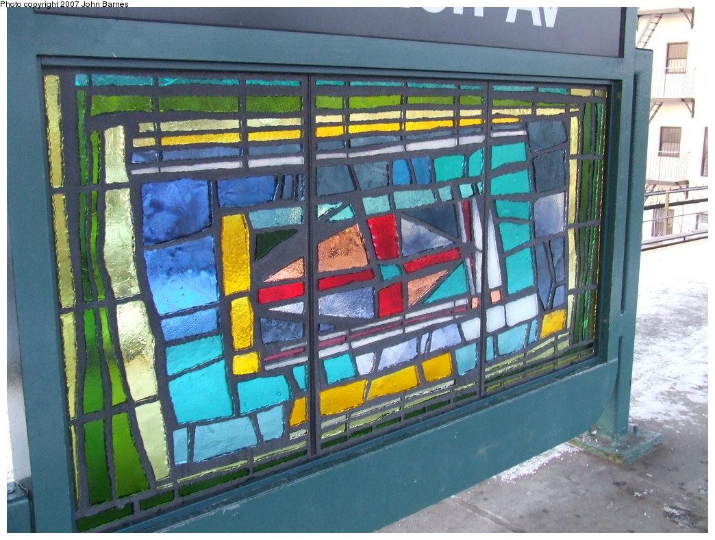 (213k, 1044x788)<br><b>Country:</b> United States<br><b>City:</b> New York<br><b>System:</b> New York City Transit<br><b>Line:</b> BMT Nassau Street/Jamaica Line<br><b>Location:</b> Van Siclen Avenue <br><b>Photo by:</b> John Barnes<br><b>Date:</b> 3/7/2007<br><b>Artwork:</b> <i>The View From Here</i>, Barbara Ellmann (2007).<br><b>Viewed (this week/total):</b> 0 / 1758