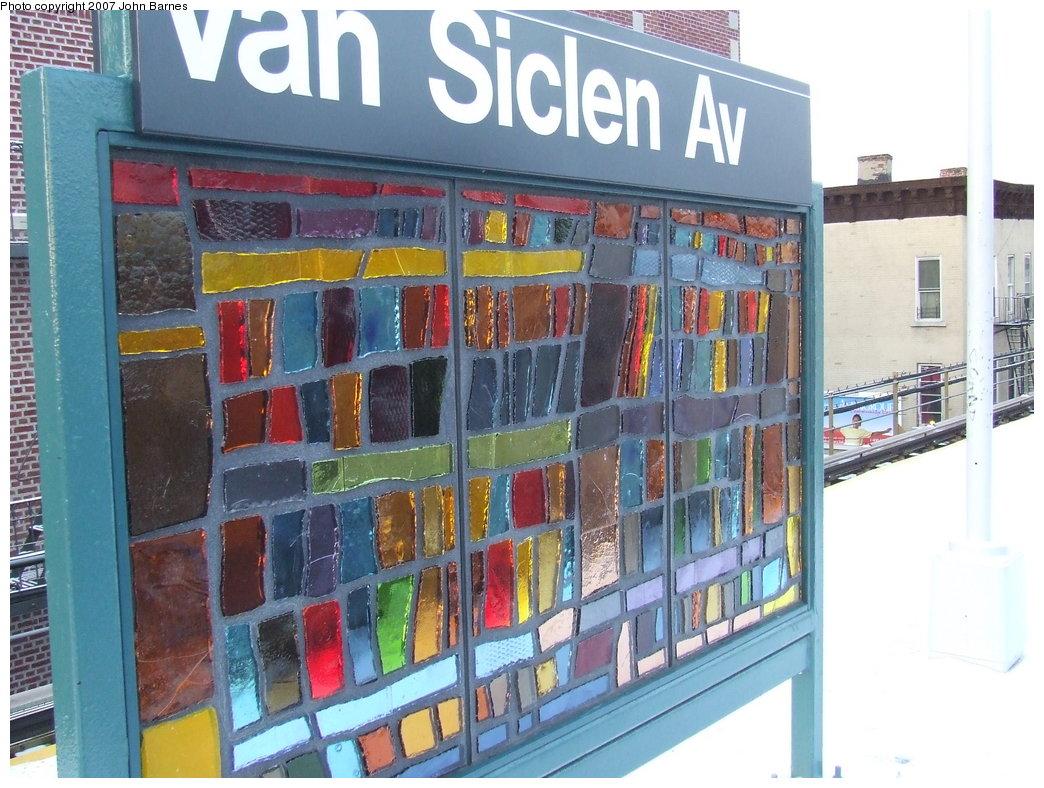(203k, 1044x788)<br><b>Country:</b> United States<br><b>City:</b> New York<br><b>System:</b> New York City Transit<br><b>Line:</b> BMT Nassau Street/Jamaica Line<br><b>Location:</b> Van Siclen Avenue <br><b>Photo by:</b> John Barnes<br><b>Date:</b> 3/7/2007<br><b>Artwork:</b> <i>The View From Here</i>, Barbara Ellmann (2007).<br><b>Viewed (this week/total):</b> 4 / 1626